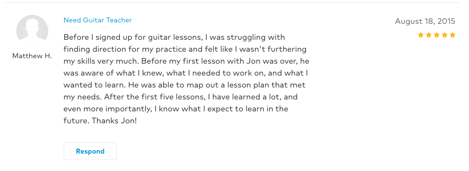Matthew left a 5 star review for Guitar Lessons In Arlington