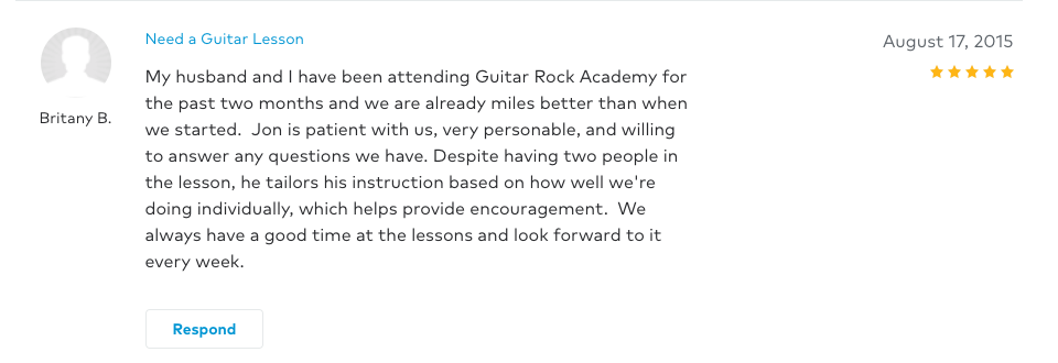 Britany left a 5 star review for Guitar Lessons In Arlington