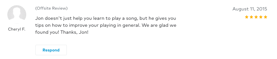 Cheryl left a 5 star review for Guitar Lessons In Arlington