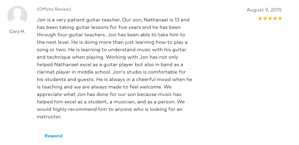Cory left a 5 star review for Guitar Lessons In Arlington