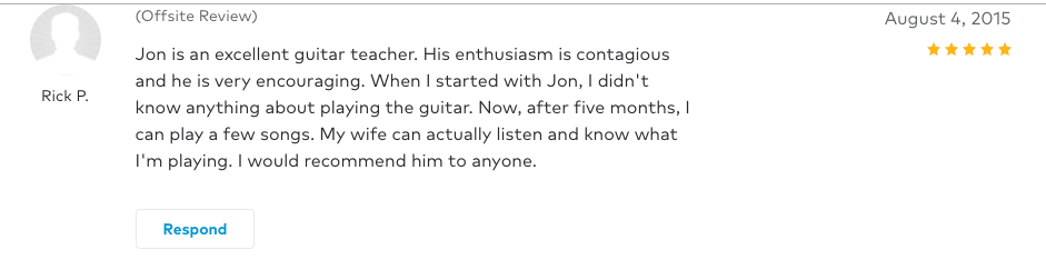 Rick left a 5 star review for Guitar Lessons In Arlington