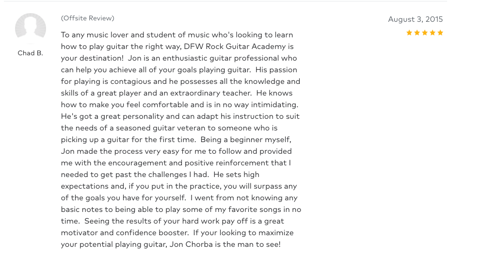 Chad left a 5 star review for Guitar Lessons In Arlington