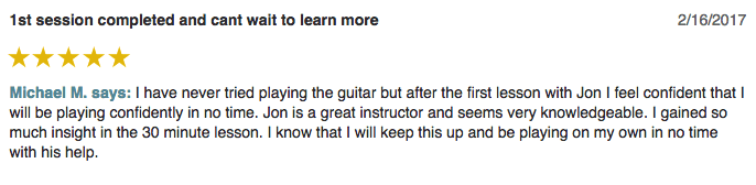 Michael left a 5 star review for Guitar Lessons In Arlington TX