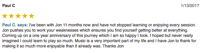 Paul left a 5 star review for Guitar Lessons In Arlington TX