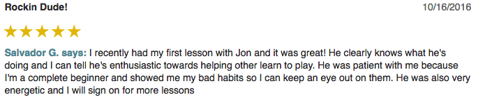 Sal left a 5 star review for Guitar Lessons In Arlington TX