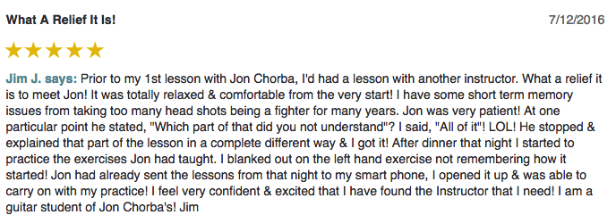 Jim left a 5 star review for Guitar Lessons In Arlington TX